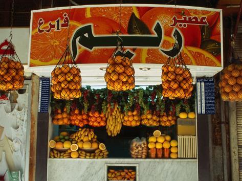 Fruit Juice Stand, Damascus, Syria Photographic Print