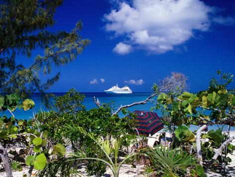 Seabourn Pride Cruise Ship Offshore, Bahamas Photographic Print