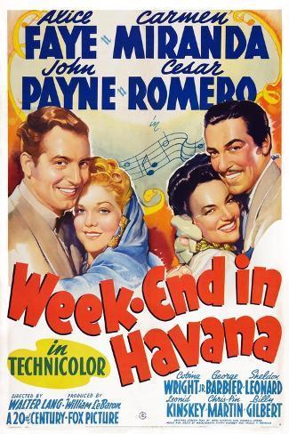 Week-End in Havana, John Payne, Alice Faye, Carmen Miranda, Cesar Romero, 1941 Art Print