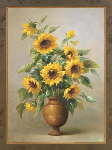 Sunflowers in Bronze I Stampa giclée premium