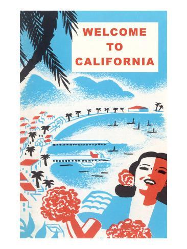 Welcome to California, Bay with Piers Art Print