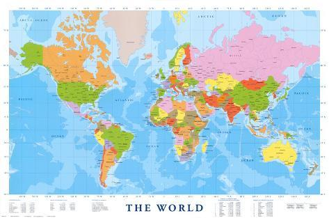 Wereldkaart met engelse tekst posters bij allposters wereldkaart met engelse tekst poster altavistaventures Images