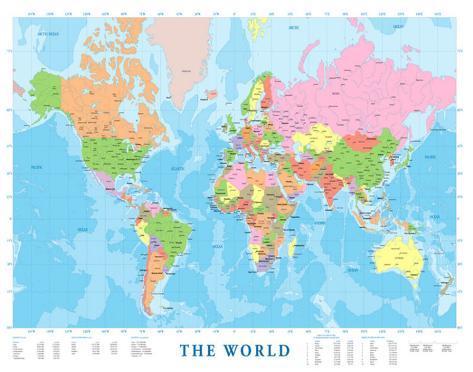 wereldkaart poster - bij allposters.be