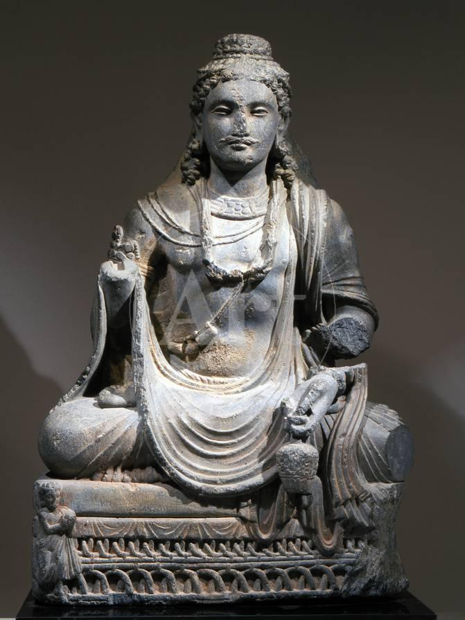 Statue Of Maitreya The Buddha Of The Future From Gandhara Kushan Period 2nd 3rd Century Photographic Print Werner Forman Allposters Com