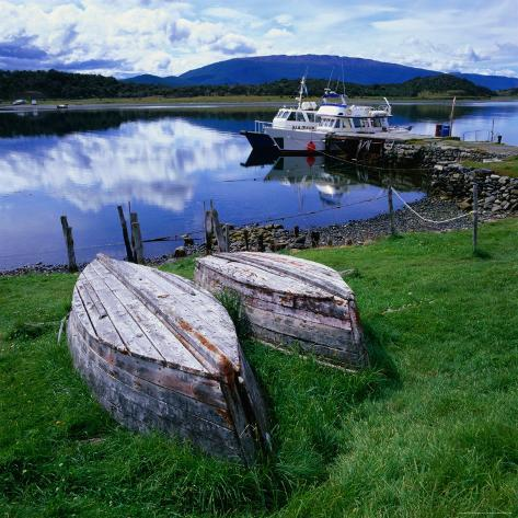Upturned Rowing Boats Near Pier at Beagle Channel, Estancia Harberon, Argentina Photographic Print