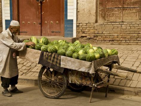 Vendor with Watermelon Cart Photographic Print