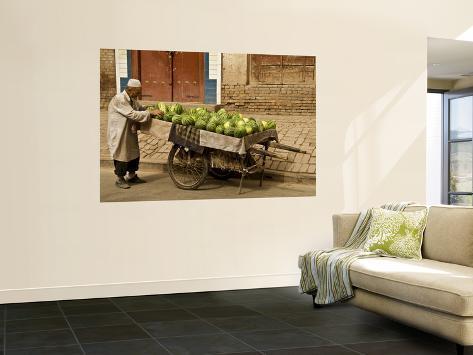 Vendor with Watermelon Cart Seinämaalaus