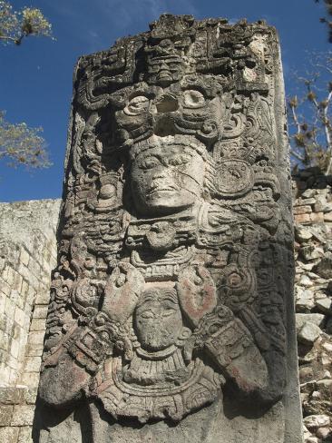 West Court, Stela P, Copan Archaeological Park, Copan, UNESCO World Heritage Site, Honduras Photographic Print