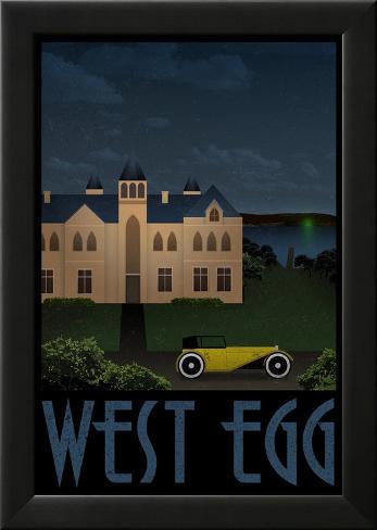 West Egg Retro Travel Poster Póster enmarcado con plástico protector
