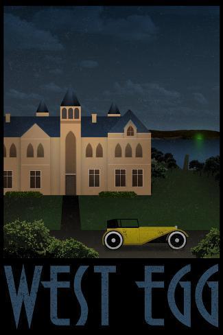 West Egg Retro Travel Impressão artística