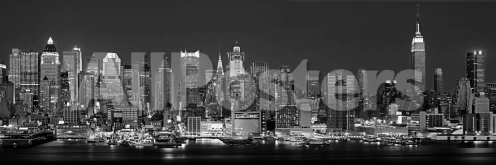 West Side, horizonte por la noche en blanco y negro, Nueva York, EE ...