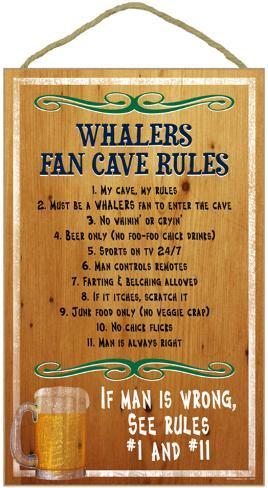 Whalers Fan Cave Rules Wood Sign Wood Sign
