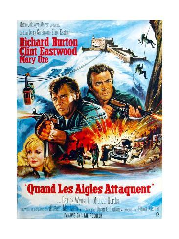 Where Eagles Dare, from Left, Mary Ure, Richard Burton, Clint Eastwood, 1968 Impressão giclée