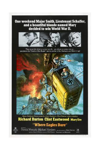Where Eagles Dare, US poster, Richard Burton, Clint Eastwood, Mary Ure, 1968 Premium Giclee Print