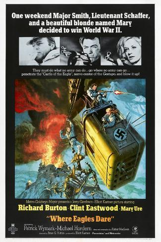 Where Eagles Dare, US poster, Richard Burton, Clint Eastwood, Mary Ure, 1968 Art Print