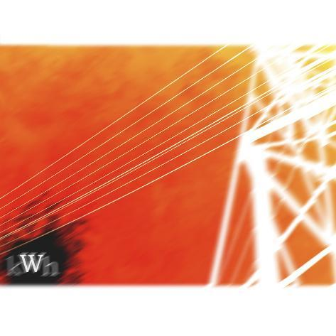 White Electrical Wires Against Orange Sky Photographic Print