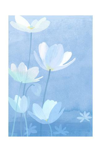 White Flowers on Blue Art Print