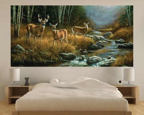 Whitetail deer indoor outdoor vinyl wall mural wall for Custom vinyl mural prints