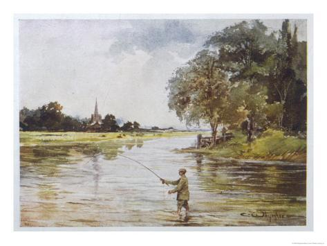 Trout Fishing on the Itchen Hampshire Giclee Print