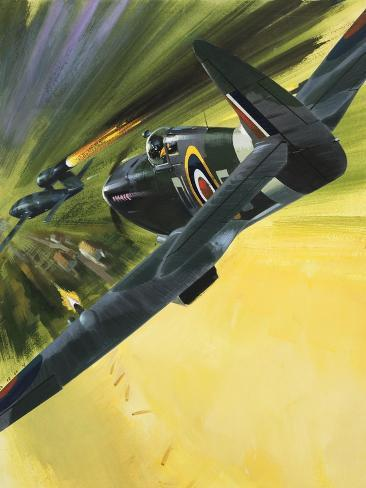 Spitfire and Doodle Bug Stampa giclée