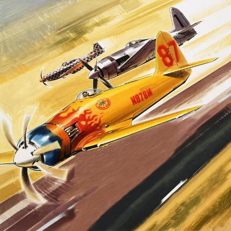 Three 'Hot Rod' Racers from Aerobatic Competitions Giclee Print