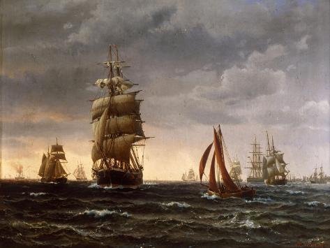 Shipping in a Choppy Sea, 1850 Giclee Print