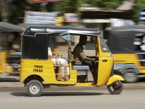 India, Tamil Nadu; Tuk-Tuk (Auto Rickshaw) in Madurai Photographic Print