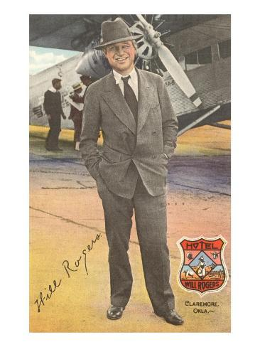 Will Rogers, Standing by Plane Art Print