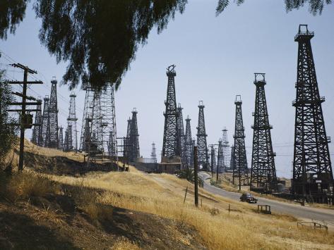 Oil Rigs Line the Road Near Long Beach Photographic Print