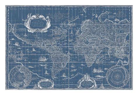 Blueprint world map 1630 posters by willem blaeu allposters blueprint world map 1630 malvernweather Gallery