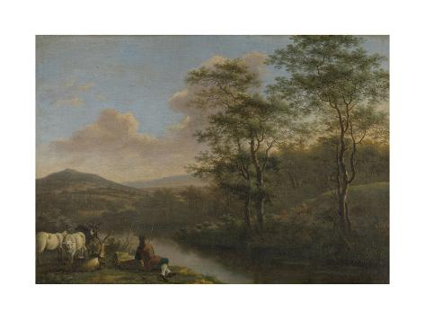 Mountainous Landscape with Shepherd Resting Art Print