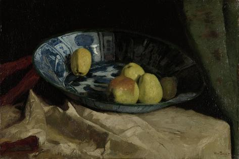 Still Life with Apples in a Delft Blue Bowl Art Print