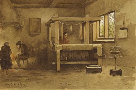 Weaver's Workshop, Netherlands, 16th Century Giclee Print