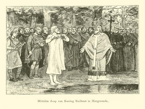 Wulfram Fails to Baptise Radbod, King of the Frisians Lámina giclée