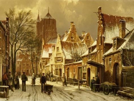 A Winter Street Scene Giclee Print