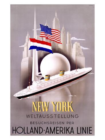 New York to Holland, America Line Giclee Print
