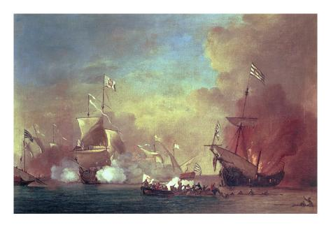 Barbary Pirates Attacking a Spanish Ship Giclee Print