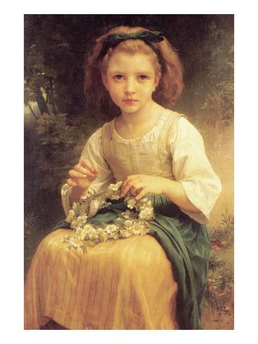 A Young Girl Braids a Garland Crown of Flowers Art Print