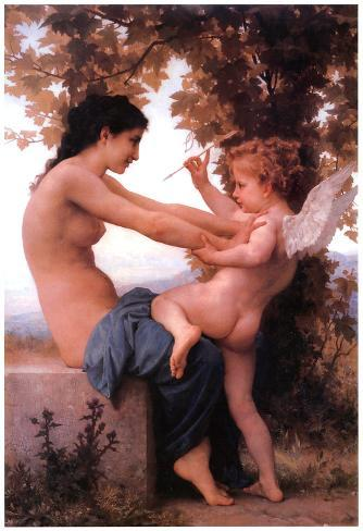 William-Adolphe Bouguereau A Young Girl Defending Herself Against Eros Art Print Poster Poster