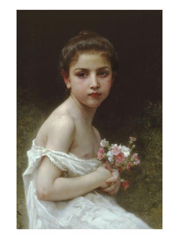 Little Girl with a Bouquet Art Print