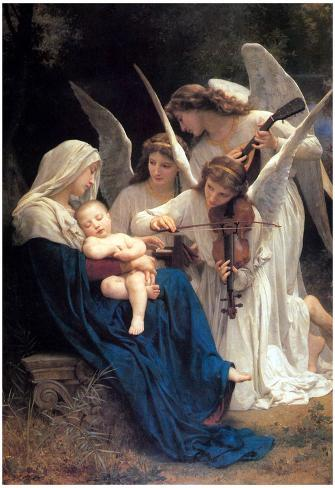 William-Adolphe Bouguereau Song of the Angels Art Print Poster Poster
