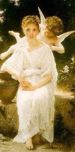 Young Lady with Angel Impressão artística