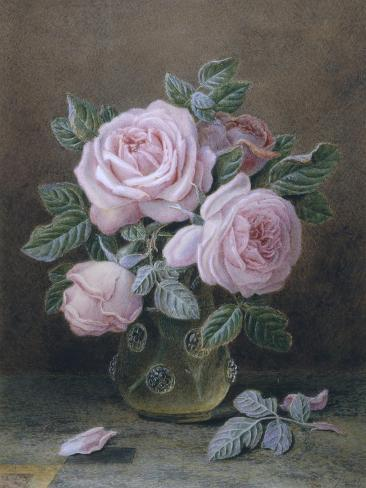 Pink Roses in a Glass Vase Giclee Print