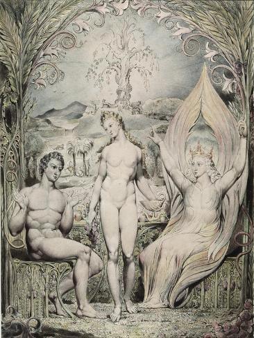 Adam, Eve and the Angel Raphael Giclee Print
