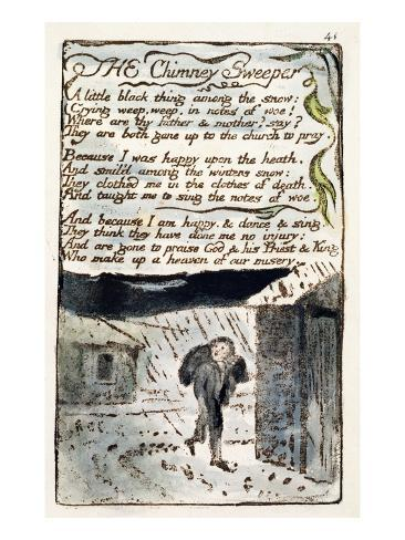 The Chimney Sweeper', Plate 41 (Bentley 37) from 'Songs of Innocence and of Experience' Giclee Print
