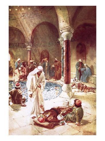 Jesus at the Pool of Bethseda Lámina giclée
