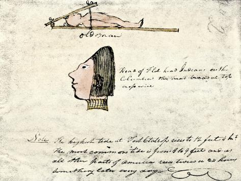 William Clark's Sketch of Flathead Indians in His Diary, c.1804-1806 Stampa giclée