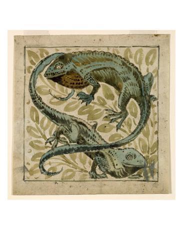 Lizards, Design For a Tile Giclee Print