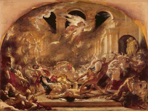 The Destroying Angel and Daemons of Evil Interrupting the Orgies of the Vicious and Intemperate Impressão giclée