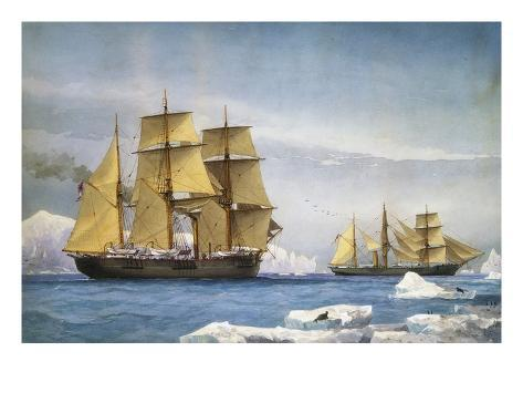 H.M.S. Alert and Discovery on the Arctic Expedition of 1865-1866 Giclee Print